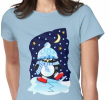 The skating Penguin Womens Fitted T-Shirt