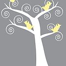 5 Yellow Birds in a Tree (Gray Background) by ValeriesGallery