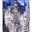 Neuschwanstein Castle in Snow by Genevieve  Cseh