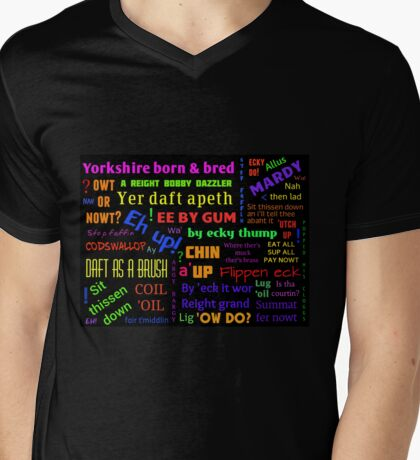YORKSHIRE BORN AND BRED SAYINGS DIALECT Mens V-Neck T-Shirt