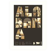 Typographic Alabama State Poster Art Print