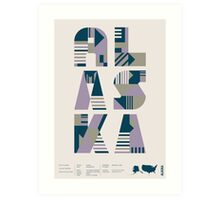 Typographic Alaska State Poster Art Print