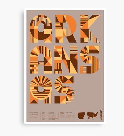 Typographic Arkansas State Poster Canvas Print