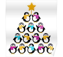 Penguins standing in pyramid. Vector cartoon Poster