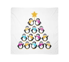 Penguins standing in pyramid. Vector cartoon Scarf