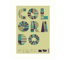 Typographic Colorado State Poster Art Print