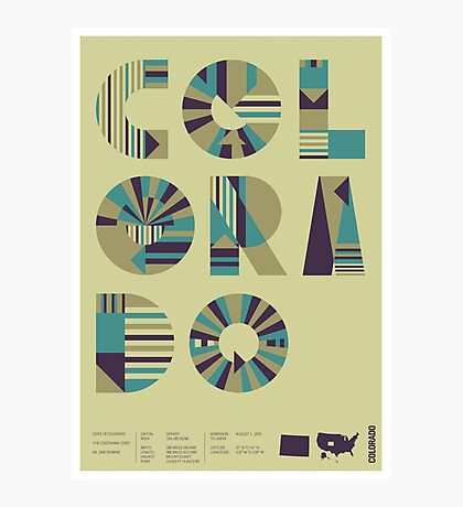 Typographic Colorado State Poster Photographic Print