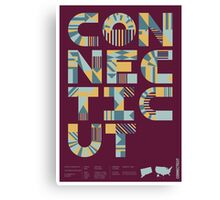Typographic Connecticut State Poster Canvas Print
