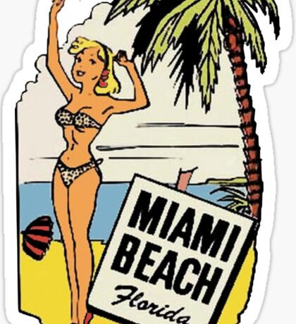 Miami Beach Florida Vintage Bikini Travel Decal Sticker