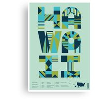 Typographic Hawaii State Poster Canvas Print