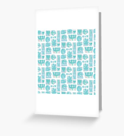 Retro Turquoise Icons Greeting Card