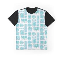 Retro Turquoise Icons Graphic T-Shirt