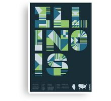 Typographic Illinois State Poster Canvas Print