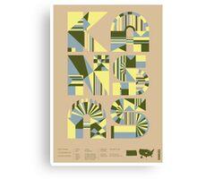 Typographic Kansas State Poster Canvas Print