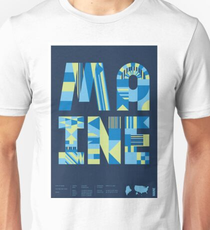 Typographic Maine State Poster Unisex T-Shirt