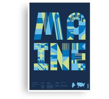 Typographic Maine State Poster Canvas Print