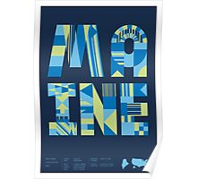 Typographic Maine State Poster Poster
