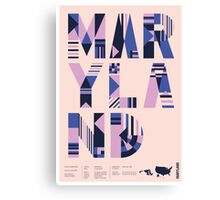 Typographic Maryland State Poster Canvas Print