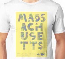 Typographic Massachusetts State Poster Unisex T-Shirt