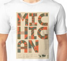 Typographic Michigan State Poster Unisex T-Shirt
