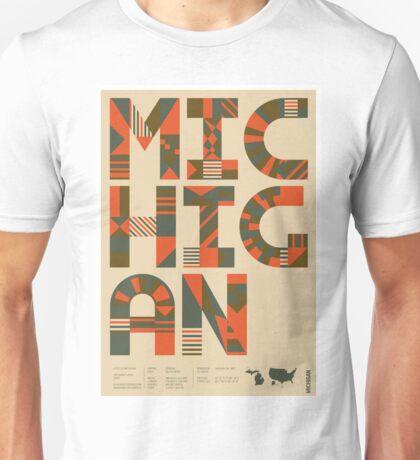 Typographic Michigan State Poster Unisex T-Shirt