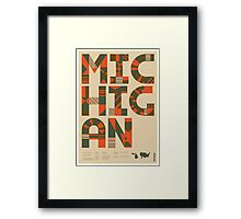 Typographic Michigan State Poster Framed Print