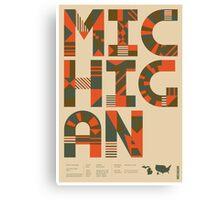 Typographic Michigan State Poster Canvas Print