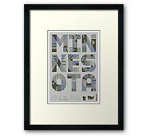 Typographic Minnesota State Poster Framed Print
