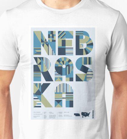 Typographic Nebraska State Poster Unisex T-Shirt