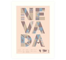 Typographic Nevada State Poster Art Print