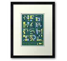 Typographic New Hampshire State Poster Framed Print