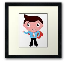 Heroic business man showing something with hand. Edition 2016 Framed Print