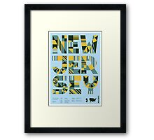 Typographic New Jersey State Poster Framed Print