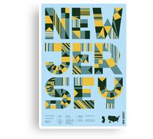 Typographic New Jersey State Poster Canvas Print