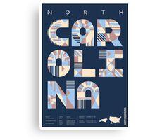 Typographic North Carolina State Poster Canvas Print