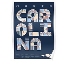 Typographic North Carolina State Poster Poster