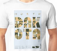 Typographic North Dakota State Poster Unisex T-Shirt