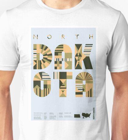 Typographic North Dakota State Poster Unisex T-Shirt