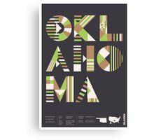 Typographic Oklahoma State Poster Canvas Print