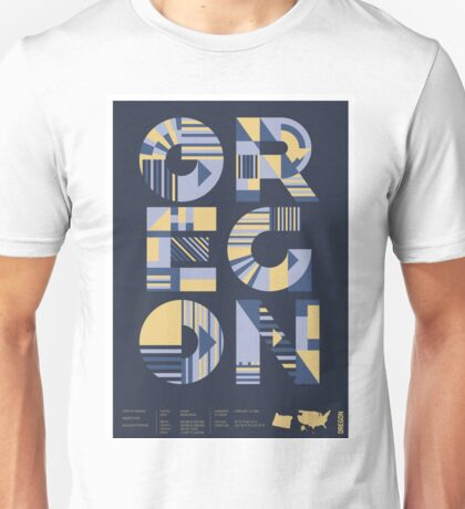 Typographic Oregon State Poster Unisex T-Shirt