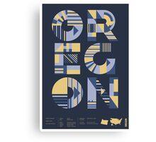 Typographic Oregon State Poster Canvas Print