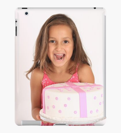 Happy and excited young girl with birthday cake iPad Case/Skin