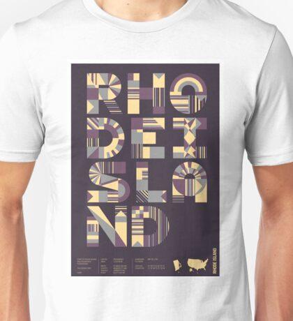 Typographic Rhode Island State Poster Unisex T-Shirt