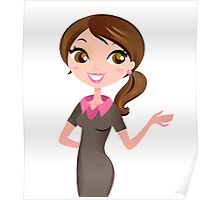 Brunette business woman showing something Poster