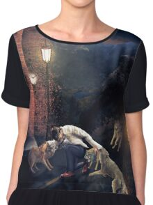 Work - a wolf in the woods you will not escape! Chiffon Top