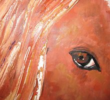 Chestnut horse close up by fixitsally