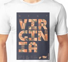 Typographic West Virginia State Poster Unisex T-Shirt