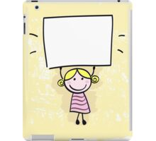 Happy little kid girl holding empty blank banner sign iPad Case/Skin