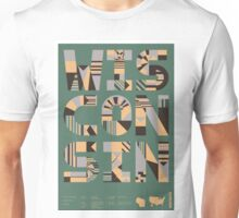 Typographic Wisconsin State Poster Unisex T-Shirt