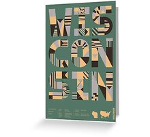 Typographic Wisconsin State Poster Greeting Card